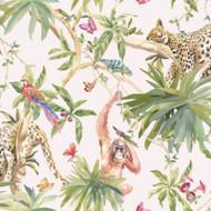 90691 - Fantasia Jungle Animals Pink Multicoloured Holden Wallpaper