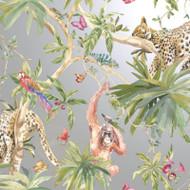 90692 - Fantasia Jungle Animals Silver Multicoloured Holden Wallpaper