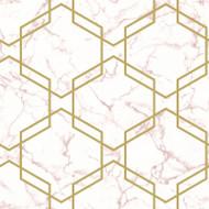 90711 - Fantasia Geometric Hexagon Pink Gold Holden Wallpaper