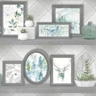 90730 - Whitcliffe Stag Frames Teal Holden Wallpaper