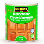 1Lt Rustins Quick Dry Outdoor Clear Varnish - Matt Clear