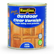 1Lt Rustins Quick Dry Outdoor Clear Varnish - Satin Clear