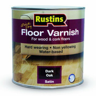 2.5lt Rustins Dark Oak Water Based Gloss Floor Varnish Clear