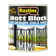 Rustins Quick Drying Water based Matt Black Interior & Exterior Paint - 1 Litre
