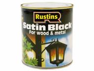 Rustins Quick Dry Water Based Satin Black 500ml