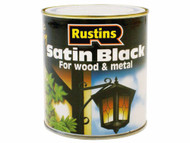 Rustins Quick Dry Water Based Satin Black - 250ml