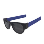 SlapSee Pro Folding Wrist Slapping Sunglasses -Black Frame Blue Slap Plain Lens