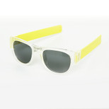 SlapSee Pro Folding Wrist Slapping Sunglasses - Clear Frame Lemon Slap Plain Lens