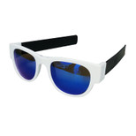 SlapSee Pro Folding Wrist Slapping Sunglasses - White Frame Black Slap Blue Lens