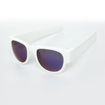 SlapSee Pro Folding Wrist Slapping Sunglasses - White Frame White Slap Blue Lens