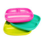 Re-Play  3 Pack Divided Plates - Pink, Aqua & Green