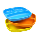 Re-Play  3 Pack Divided Plates - Sky Blue, Orange & Yellow
