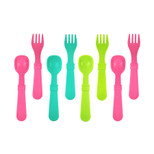 Re-Play  4 Spoons 4 Forks - Pink, Aqua & Green