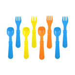 Re-Play  4 Spoons 4 Forks - Sky Blue, Orange & Yellow