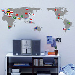 StickieArt Map With Flags Wall Decal Medium 50 x 70 cm