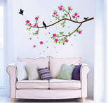 StickieArt Birds on Flower Branch Wall Decal Large 60 x 90 cm