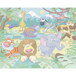 Walltastic - Baby Jungle Safari Wallpaper Mural - 12 Panels with Double Sided Tape - 8 x 10 ft - WTC-40595+40748