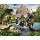 Walltastic - Dinosaur Land Wallpaper Mural - 12 Panels with Double Sided Tape - 8 x 10 ft - WTC-41745+40748