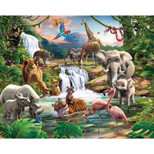 Walltastic - Jungle Adventure Wallpaper Mural - 12 Panels with Double Sided Tape - 8 x 10 ft - WTC-41776+40748
