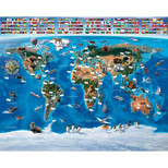 Walltastic - Map Of The World Wallpaper Mural - 12 Panels with Double Sided Tape - 8 x 10 ft - WTC-41851+40748