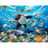 Walltastic - Sea Adventure Wallpaper Mural - 12 Panels with Double Sided Tape - 8 x 10 ft - WTC-45279+40748