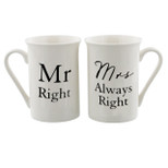 2 Piece Gift Mug Set - 'Mr Right & Mrs Always Right' - 10 Oz - Porcelain - OTH-WG524