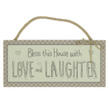 Hanging MDF Wall Rectangle Plaque - 'Bless this House with LOVE and LAUGHTER' - Wood - OTH-61172