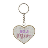 Heart Shaped MDF Keyring - 'NO. 1 mum' - OTH-61891