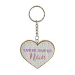 Heart Shaped MDF Keyring - 'SUPER DUPER nan' - OTH-61893