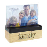 "Wooden Block Photo Frame - 'family' - 6"" x 4"" - OTH-FW470FAM"