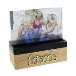 "Wooden Block Photo Frame - 'friends' - 6"" x 4"" - OTH- FW470FR"