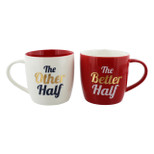 2 Piece Mug Set - 'The Other Half & The Better Half' - 14 Oz - Ceramic - OTH-69145
