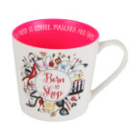 Girl Talk Mug - 'Born TO Shop' - 14 Oz - Ceramic - OTH-SP1378