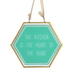 Green Glass Hanging Plaque - 'THE KITCHEN IS THE HEART OF THE HOME' - OTH-62035