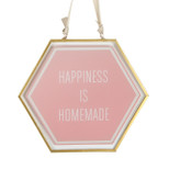 Pink Glass Hanging Plaque - 'HAPPINESS IS HOMEMADE' - OTH-62036