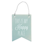 Blue Hanging Plaque - 'THIS IS MY Happy PLACE' - Ceramic - OTH-62045