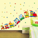 StickieArt - Cartoon Animal Train Ride for kids - Wall Decal- Large - 60 x 90 cm - STA-199