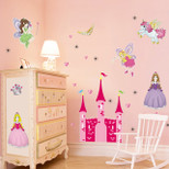 StickieArt - Girl's Magical Princess Castle with Fairies & Unicorn - Wall Decal- Large - 60 x 90 cm - STA-200