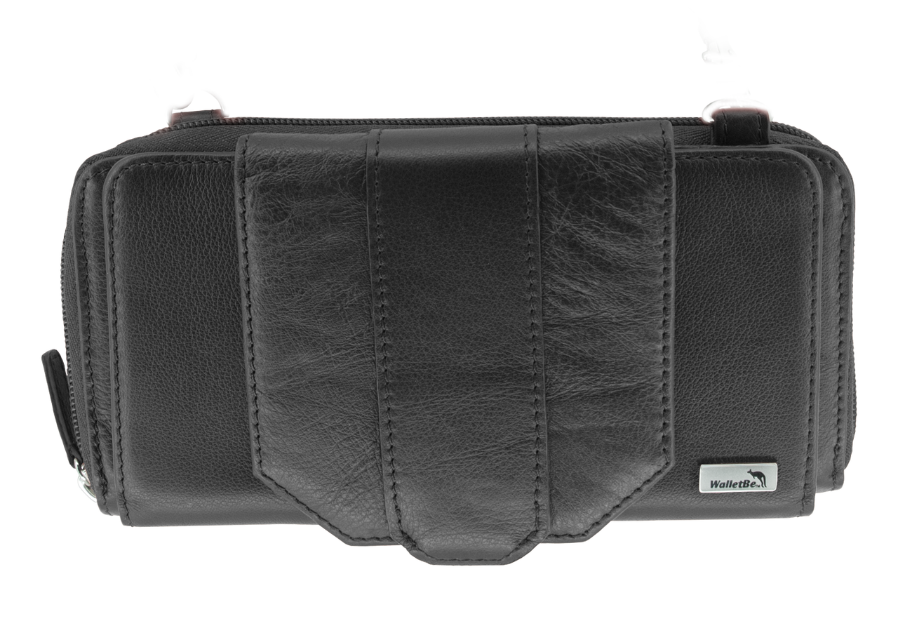 Leather Crossbody RFID Cell Phone Wallet Purse (Pebbled)  851155e65547
