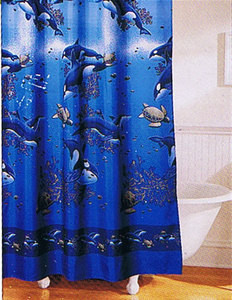 MUST SEE- FABRIC SHOWER CURTAIN +12 CERAMIC HOOKS - NEW 970