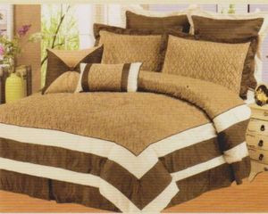 Queen size Bed in a Bag 8 pc. Comforter / Bedding Set / Bed Ensemble - BROWN