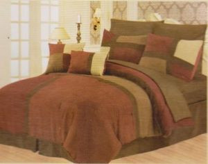 Queen Faux Suede Patchwork Bed in a Bag 10 pc. Comforter / Bedding Set -BURGUNDY