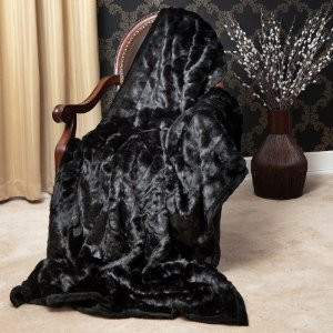 """MINK"" FAUX FUR THERMAL THROW BLANKET - Black color"