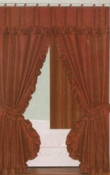 """RUST"" Double Swag Fabric Shower Curtain+Valance+Liner"