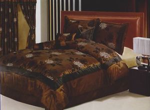 KING Bed-in-a-Bag 11 pc. Comforter + Curtains / Drapes Set - Brown