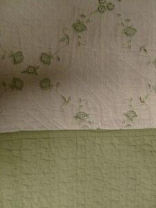 3 Pcs 100% Cotton KING QUILT / BEDSPREAD Beige & Sage