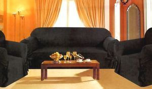 3 Pcs Slipcovers Set,Sofa+Loveseat+Chair Covers - BLACK