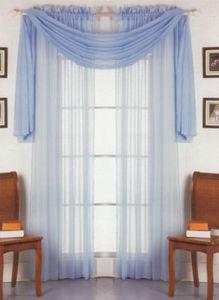 2 Panels 1 Scarf Voile Sheer Curtains Drapes Set - Blue