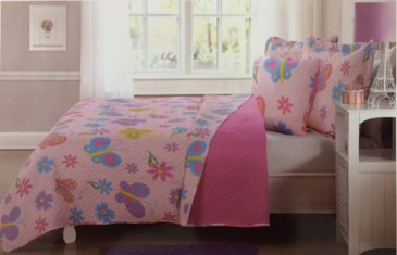 Orly'sDream 3 Pcs Twin Size Kids Children Boys Girls Teens Quilt/Sham/Cushion Set - Pink Butterfly
