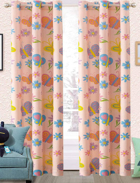 Orly'sDream Boys Girls Kids Children's Teens Pink Butterfly 2 Panel Metal Grommets Curtain Set